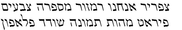 Shofar Regular Oblique Hebrew Font